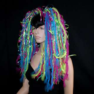 Pink Green Blue Neon 80s UV Cyber Hair Falls Dreads