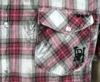 Ed Hardy Alex Chain Link Plaid Shirt pink button down