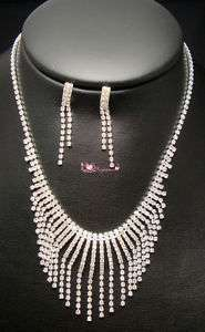 Bridal Drag Queen Clear Rhinestone Necklace Earrings
