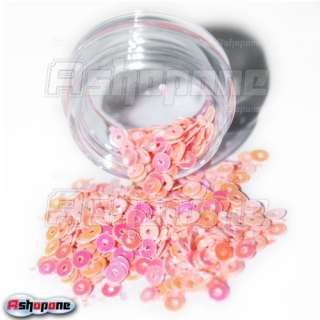 12 Color Round Ring Flake Shiny Sparkly Glitter Nail Art Tip