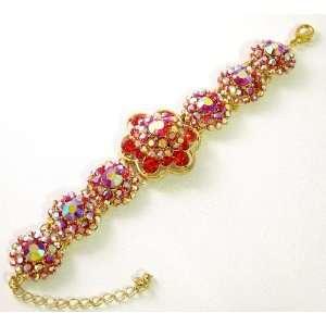 Prom Crystal Rhinestone Rose Flower Bracelet 09
