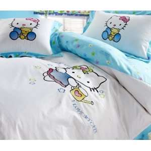 Hello Kitty Blue BED Single or Full Size Pink Sheet Fitted