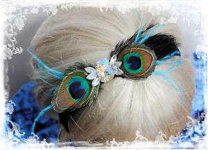 PEACOCK COQUE FEATHERS HEADBAND BLACK RHINESTONES