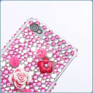 3D Rose Flower Bling Crystal Case Rhinestone Cover For iPhone 4 4G 4S