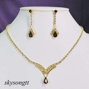 Swarovski Brown Clear Crystal Rhinestone Bridal Necklace Earrings Set
