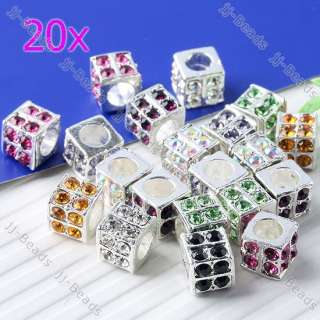 20pc Mixed Silver Plated Crystal Dice Cube European Beads Fit Charms