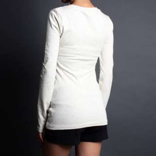 Basic LONG SLEEVE Stretch T Shirts Solid Cotton V neck Top