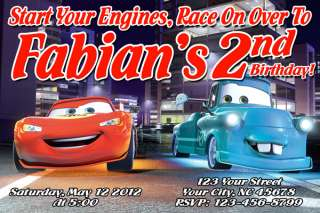 Disney Cars 2 Birthday Party Custom Personalized Invitations Lightning