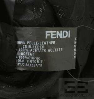 Fendi Black Leather Double Breasted Motorcycle Jacket