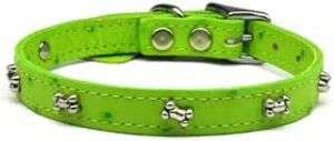 Bone Faux Ostrich Lime Green Leather Pet Dog Collar