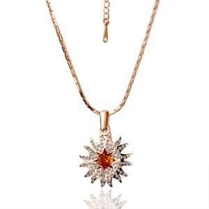 Rose Gold Inlaid Crystal Brilliant Sun 18k Gold Plated Necklace Czech