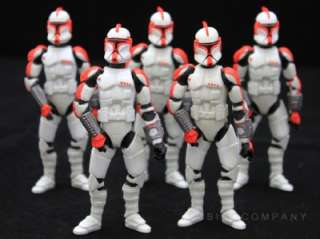 Free Ship Lot 5 STAR WARS saga legends CLONE TROOPER CAPTAIN Red S5