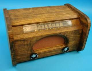 Rare Radiola Antique Tube Radio Deco Wood Case+Power Cord