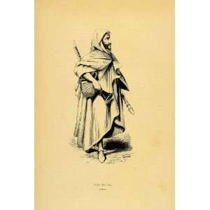 1844 Engraving Costume Ethnic Bedouin Arab Man Africa