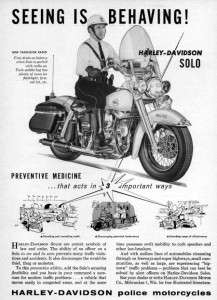 1958 Harley Davidson Duo Glide Police Motorcycle Ad