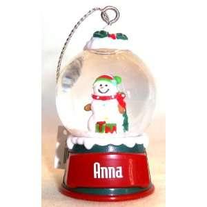 Anna Christmas Snowman Snow Globe Name Ornament