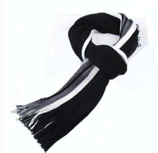 Mens Winter Black+Gray+White Stripes Long Scarf