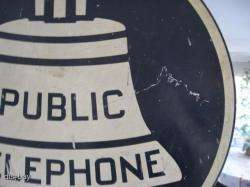 BIG HEAVY METAL 2 SIDED FLANGED PUBLIC TELEPHONE ADVERTISING SIGN
