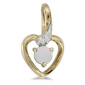 14k Yellow Gold October Birthstone Round Opal And Diamond