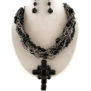 Extra Large Black Cross Layered Black Bead Statement Pendant Necklace