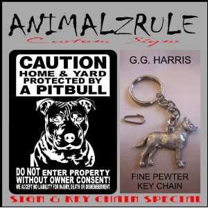 PITBULL DOG SIGN ALUMINUM 9x12 & G.G. HARRIS FINE PEWTER PITBULL