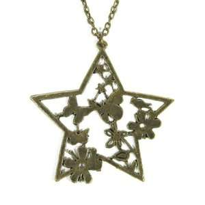 Floral Star Necklace Vintage Gold Butterfly Charm Retro Flower Pendant