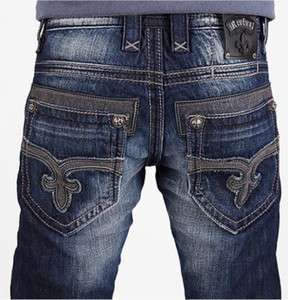 ROCK REVIVAL Mens Victor Straight Leg Jeans Fleur Embroidery Stitch