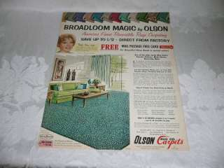 RETRO 1960SWALL ART,DINAH SHORE OLSON CARPETS, 1963 MAGAZINE AD