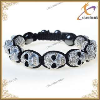 Jewelry Metal CZ Crystal Clear Disco Ball AB Skull Tibet Bracelet Men