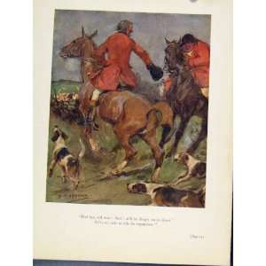 Horse Hounds Dogs Sketches Fox Hunting Antique Print Home