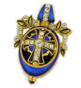 Enameled Style Egg Pendant Silver Gold Cross Pray
