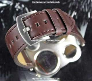 Mens Fashion Dual Time Zone BIG DIAL Army Quartz Watch