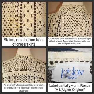 1960s LAIGLON MOD CROCHET LACE SHEATH DRESS BROWN/CREAM SZ 6