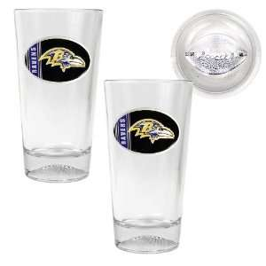 Baltimore Ravens NFL 2pc Pint Ale Glass Set with Football
