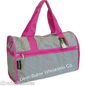 Houndstooth Print Duffle Tote Bag Luggage Pink Trim