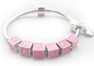 SP Personalized Pink Charm Bead Name Bracelet Gift Idea