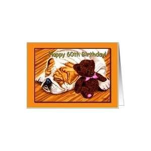 Happy 60th Birthday, funny humorous sleeping Bulldog with