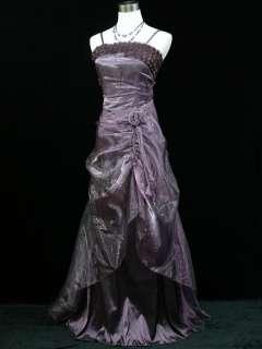 Plus Size Satin Purple Rose Prom Ball Gown Wedding/Evening Dress 22 24