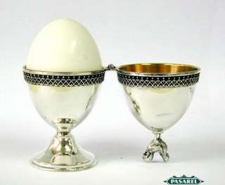 Sterling Silver & Filigree Rooster & Hen Egg Cups