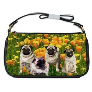 Pug Dog Puppies Leather Shoulder Clutch Handbags Bag