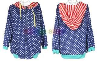 SC550 Blue Star Pattern Women Thin Zipper Hoodie Coat Jacket Batwing