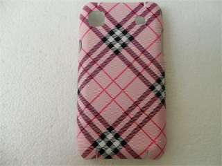 Pink grid hard case cover for SAMSUNG I9000 GALAXY S