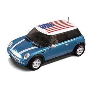 Mini Cooper USA Electric Blue Slot Car (Slot Cars) Toys & Games