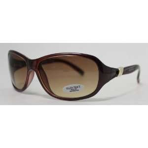 Ellen Tracy Sunglass Rectangle Crystal Burgundy Fashion Plastic, Brown