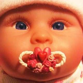 OOAK Baby Girl Pink Princess Swarovski Tiara Pearl Reborn polymer clay