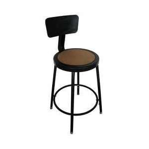 Dakota Designs 5NWH3 Round Stool, Backrest, Seat Ht 18 27 In