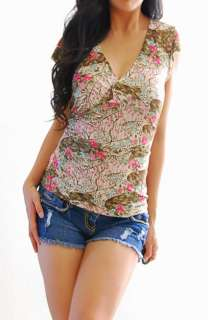 LOVELY + PRETTY Brown Pink Green Floral Cap Sleeve Belted Shirt