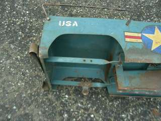 RARE EARLY ARMY JEEP PEDAL CAR, GREAT PAINT AND STENCILING