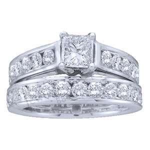 2 Carat Princess Round Diamond 14k White Gold Bridal Set Ring