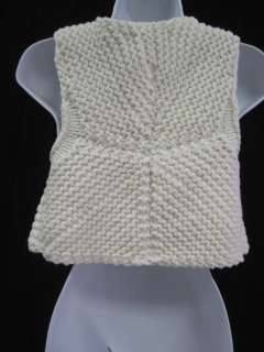 ESCOTE White Cotton Knitted Clasp Closure Vest Sz M